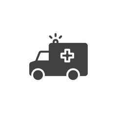 Ambulance truck icon vector, filled flat sign, solid pictogram isolated on white. Symbol, logo illustration. Pixel perfect