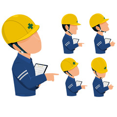 inspector are patrolling  construction site or factory