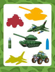 cartoon guessing game for kids with colorful military vehicles and elements joining pairs
