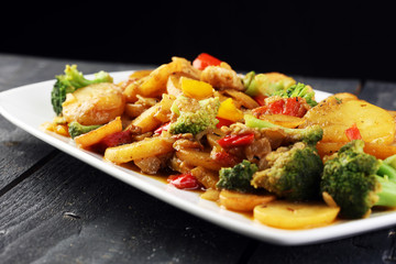 Healthy Cooking Chicken Broccoli and Sweet Potato