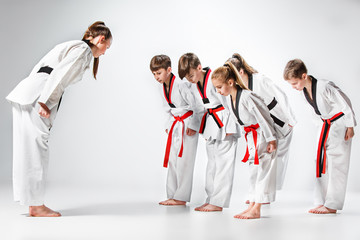 The studio shot of group of kids training karate martial arts