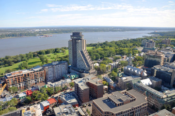 Aerial view of Quebec City Loews Hotel Le Concorde and St Lawrence River in summer, Quebec, Canada.