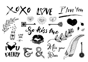 Valentine Day, wedding hand drawn lettering, outline romantic doodles