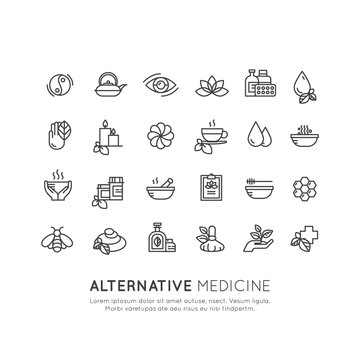 Vector Icon Style Logo Sign Set of  Alternative Medicine. IV Vitamin Therapy, Anti-Aging, Wellness, Ayurveda, Chinese Medicine. Holistic centre. Green Energy Mandala