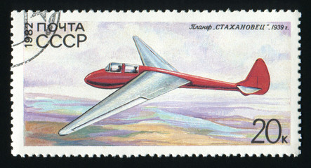 USSR - CIRCA 1982: A post stamp printed in USSR shows the glider Stakhanovets, circa 1982.