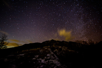 Stars and a mountain at Kirifuri highland
