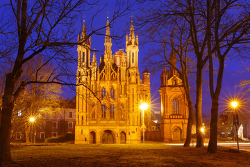 Facade of Saint Anne church during evening blue hour in Vilnius, Lithuania, Baltic states. Wall mural
