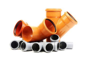 Composition from plastic pvc pipes, isolated on the white