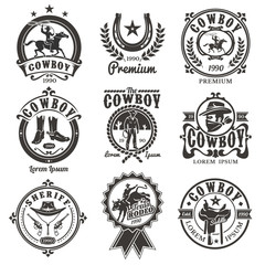 Set of rodeo logos, badges with cowboys silhouettes riding the bull and horse and rodeo accessory isolated on white