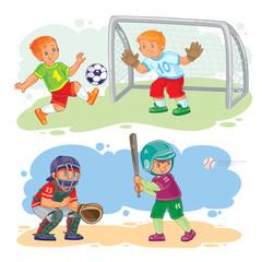 Set of icons of boys playing baseball and soccer