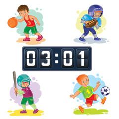 Set of icons of boys playing basketball, American football, baseball, soccer and scoreboard