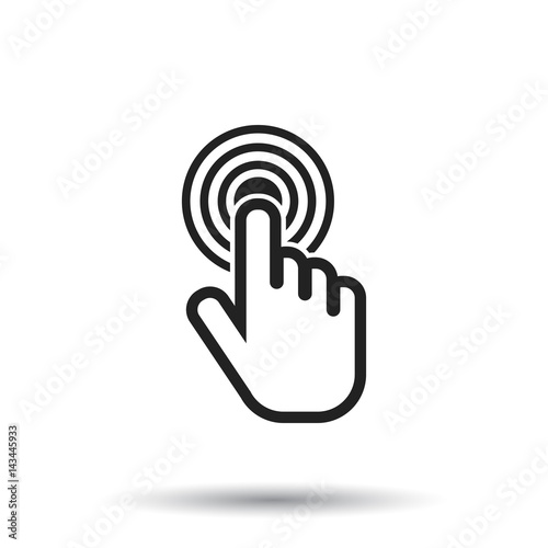"""Click here icon. Hand cursor signs. Black button flat ..."