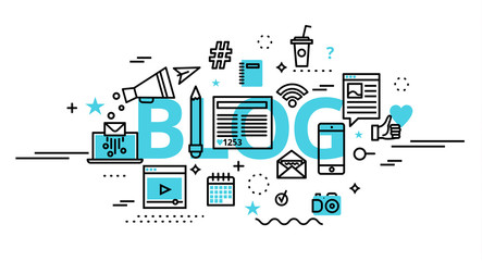 Concept of blog, online news and blogging