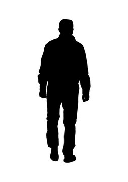 Silhouette of a man is walking from behind a kind of vector