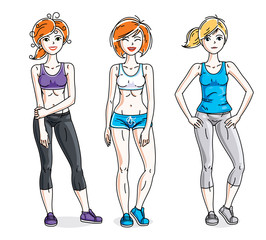 Attractive young women standing wearing stylish sport clothes. Vector people illustrations set.