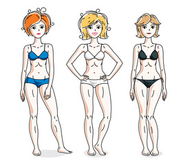 Happy cute young women standing wearing colorful bikini. Vector set of beautiful people illustrations. Slim female with perfect body.