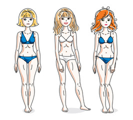 Happy cute young women standing wearing colorful bikini. Vector set of beautiful people illustrations.