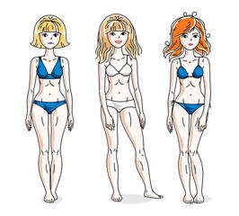 Happy cute young women standing wearing colorful bikini. Vector set of beautiful people illustrations.