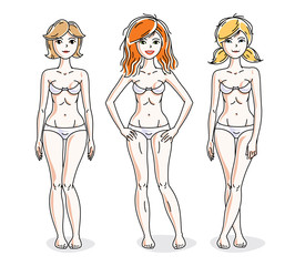 Happy attractive young women standing in white underwear. Vector diversity people illustrations set. Slim female with perfect body.