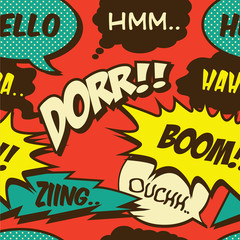 Retro Pop comic shout seamless pattern