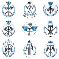 Vintage Weapon Emblems set. Vintage vector design elements collection. Retro style label, heraldry.