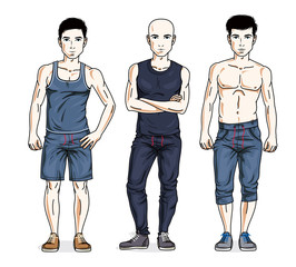Handsome young men standing in stylish sportswear, sportsman and fitness people. Vector set of beautiful people illustrations. Lifestyle theme male characters.