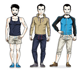 Handsome young men standing in stylish sportswear, sportsman and fitness people. Vector set of beautiful people illustrations.