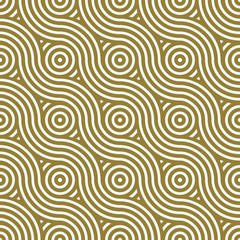 Yellow vector endless pattern created with thin undulate stripes and circles, seamless composition. Continuous interlace texture can be used as website background and as wrapping paper.
