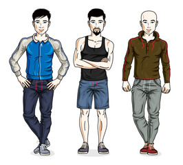 Handsome young men group standing in stylish sportswear. Vector different people characters set.