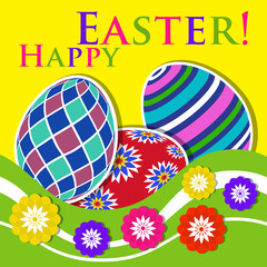 Easter colored greeting card - eggs with flowers
