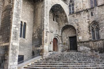 Main entrance to Palace, Palau Reial Major. King square, gothic quarter,Barcelona,Spain.