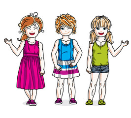 Cute happy little girls posing in stylish casual clothes. Vector diversity kids illustrations set.