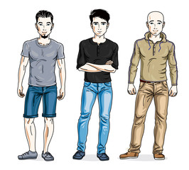 Happy men posing in stylish casual clothes. Vector people illustrations set. Lifestyle theme male characters.