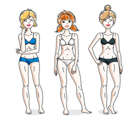 Young beautiful women standing wearing colorful bikini. Vector diversity people illustrations set. Slim female with perfect body.