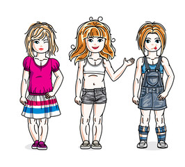 Sweet little girls standing wearing casual clothes. Vector kids illustrations set.