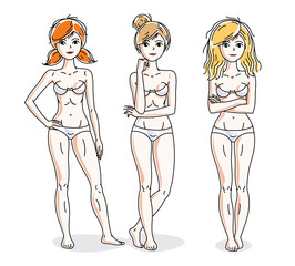 Attractive young women group standing in white underwear. Vector people illustrations set.