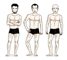 Handsome men group standing in black underwear. Vector characters set.