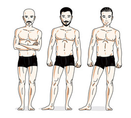Handsome men group standing in black underwear. Vector characters set. Athletic man with perfect body.