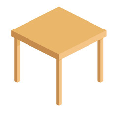 empty wooden square table for office and home in isometric view, vector illustration isolated on white background