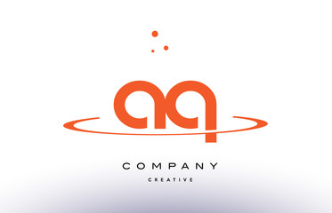 AQ A Q creative orange swoosh alphabet letter logo icon