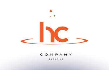 HC H C creative orange swoosh alphabet letter logo icon