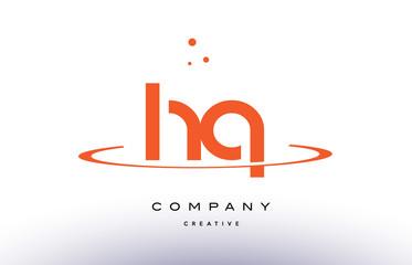 HQ H Q creative orange swoosh alphabet letter logo icon