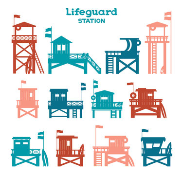 Vector set - Silhouette of Lifeguard stations