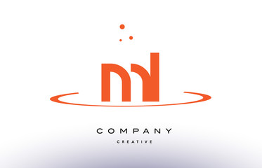 ML M L creative orange swoosh alphabet letter logo icon