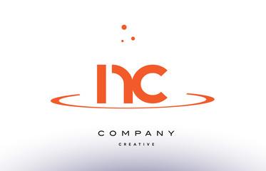 NC N C creative orange swoosh alphabet letter logo icon