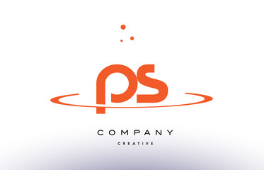 PS P S creative orange swoosh alphabet letter logo icon