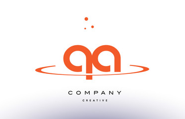 QA Q A creative orange swoosh alphabet letter logo icon