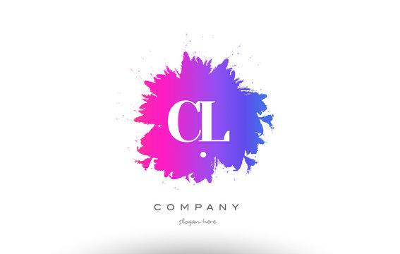 CL C L purple magenta splash alphabet letter logo icon design