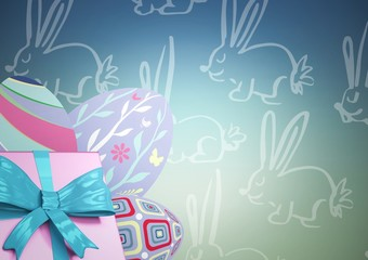 pink gift and purple eggs against blue green easter pattern