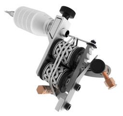 Metallic silver tattoo machine with black and white coils